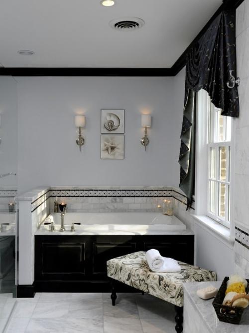 интерьер ванной комнаты черно белой