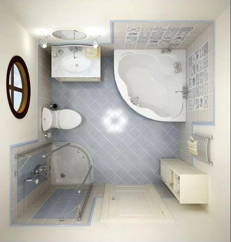 современный дизайн маленькой ванной комнаты