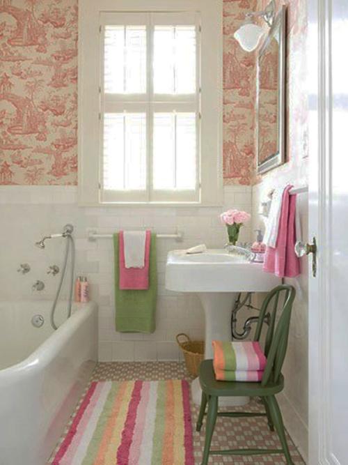 Розовые, белые и зеленые тона в дизайне
