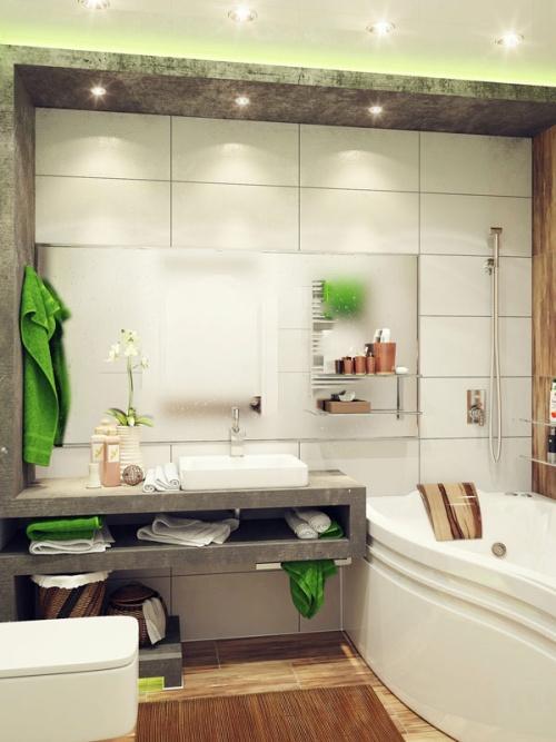 Свежий дизайн небольшой ванной с большим зеркалом