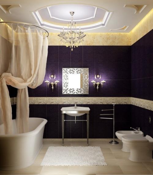 Красивый дизайн ванной комнаты керамической плиткой