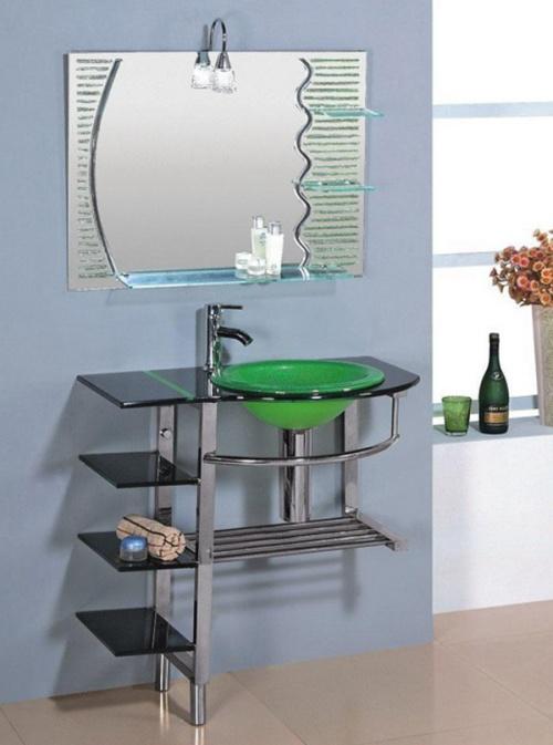 Раковина из стекла для ванной со столешницей