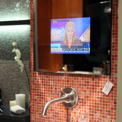 Bathroom mirror with built in tv