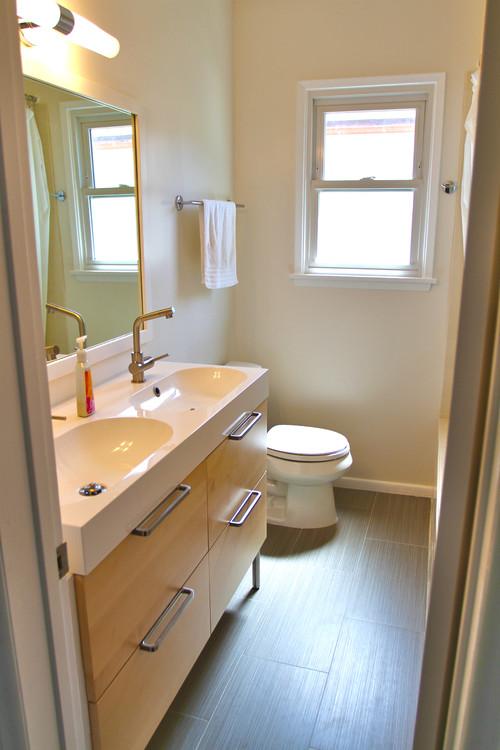 двойная раковина для ванной с тумбой