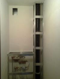 Каркас короба для труб в ванной комнате