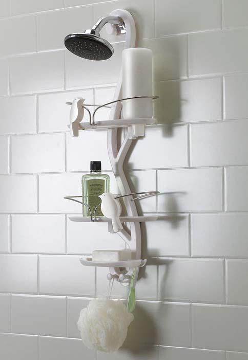 оригинальная конструкция полочки в ванной