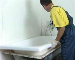 Реставрация чугунной ванны с помощью акрилового вкладыша фото