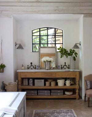 Декор в интерьере ванной комнаты в стиле прованс
