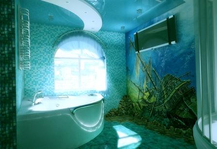 Помещение ванной с окном в голубых тонах