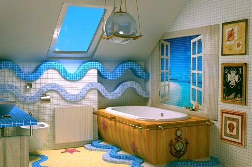Волны моря в дизайне интерьера