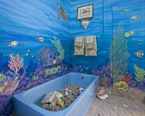 Декор ванной комнаты в морском стиле фото