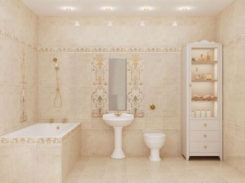 Пастельные тона в дизайне ванной под модерн