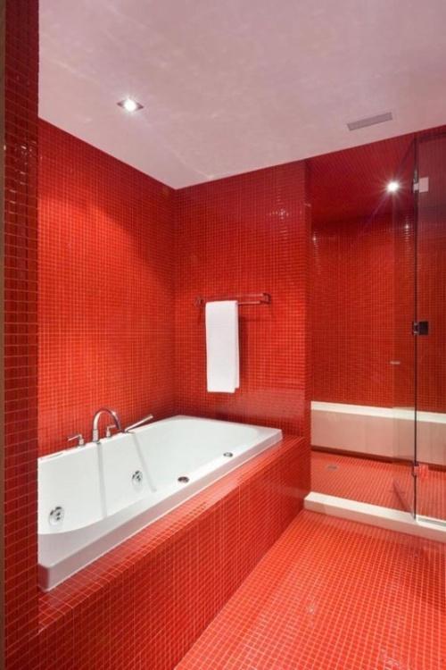 ванная комната красного цвета