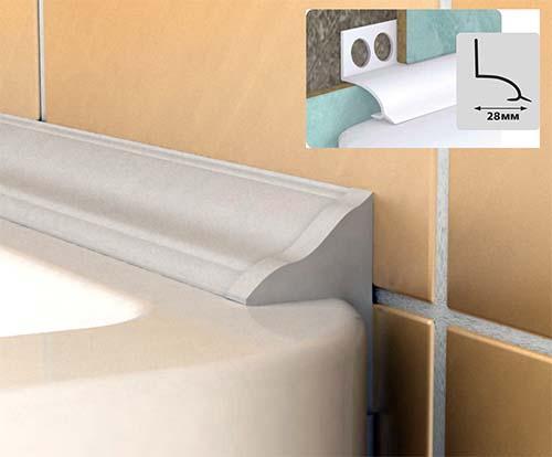 Пластиковый бордюр на ванну может иметь различную форму
